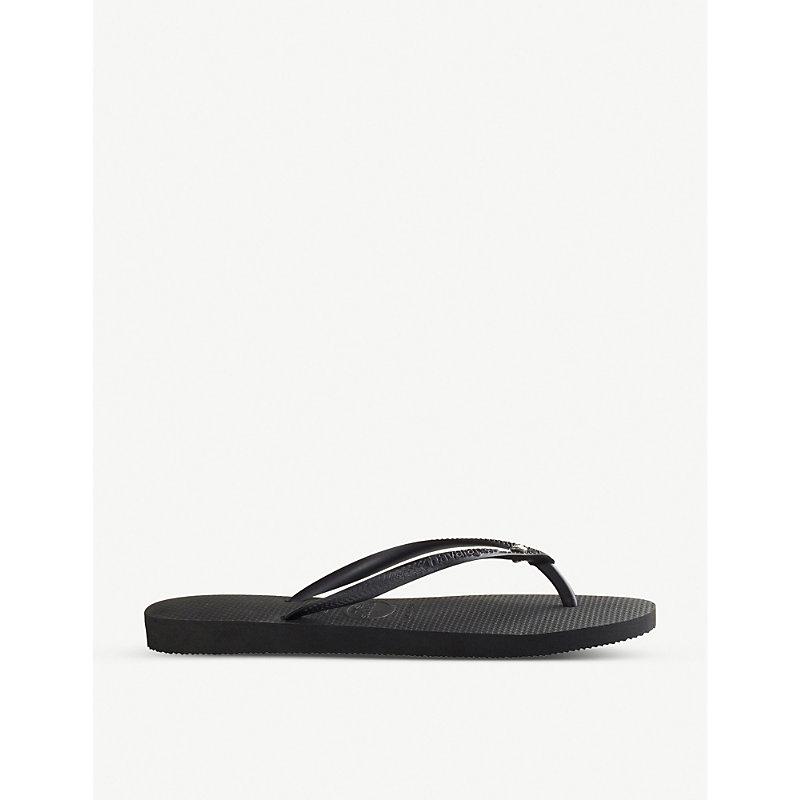 HAVAIANAS   Havaianas Slim Embellished Flip-Flops, Women'S, Size: 42767, Black   Goxip