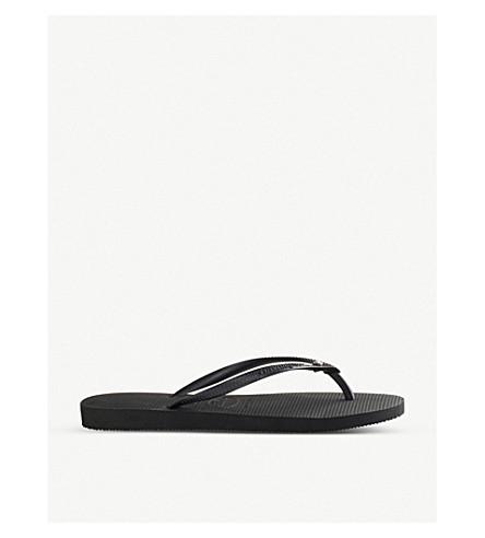 HAVAIANAS Slim embellished flip-flops (Black