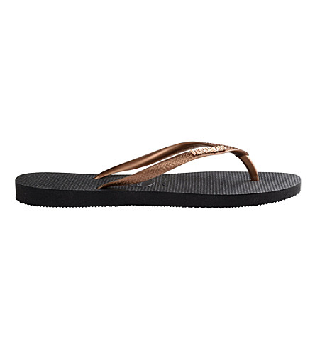 HAVAIANAS Slim flip-flops (Black/copper