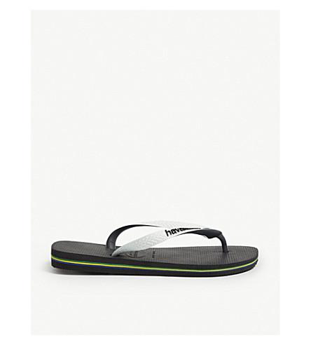 91c3a987d4f HAVAIANAS Brazil logo rubber flip-flops (Black white