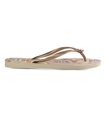 HAVAIANAS Slim floral-print flip-flops (Beige