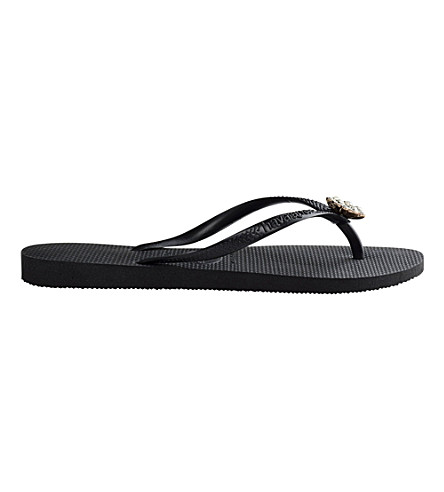 HAVAIANAS Poem embellished flip-flops (Black/dark+grey