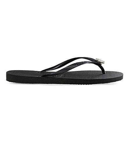 HAVAIANAS Poem embellished flip-flops (Black/graphite