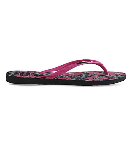 HAVAIANAS Slim floral-print rubber flip-flops (Black/orchid+rose