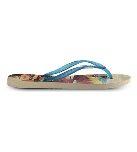 HAVAIANAS Slim Paisage graphic-print rubber flip-flops (Beige/blue