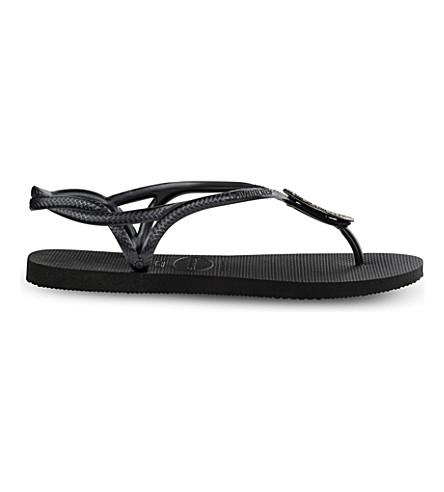 HAVAIANAS Luna Special Swarovski crystal-embellished flip-flops (Black/dark+grey