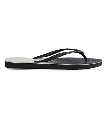 HAVAIANAS Slim ombré-print rubber flip-flops (Black