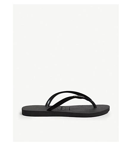 HAVAIANAS Allure Maxi embellished rubber flip-flops (Black