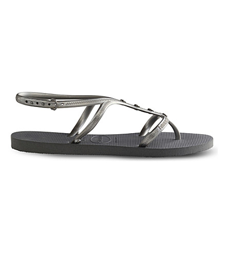 HAVAIANAS Allure Maxi embellished rubber flip-flops (Grey