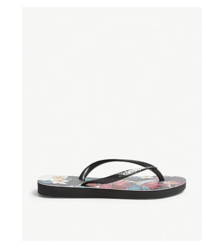 HAVAIANAS Tropical floral slim flip-flops (Black