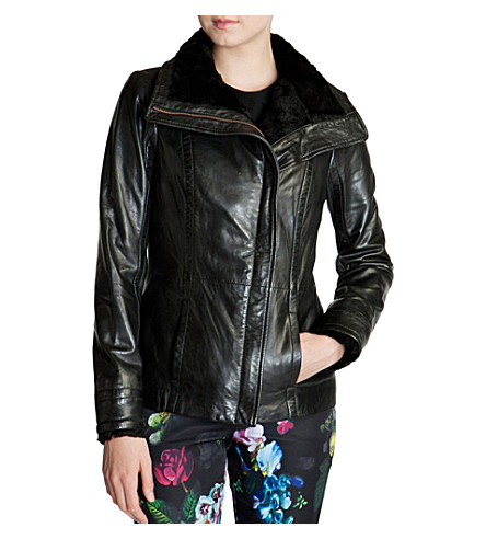 TED BAKER Shearling-collar leather jacket (Black