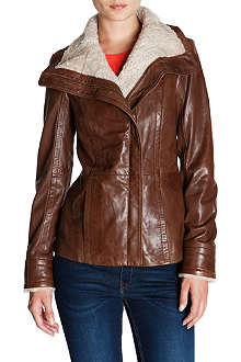 TED BAKER Shearling-collar leather jacket