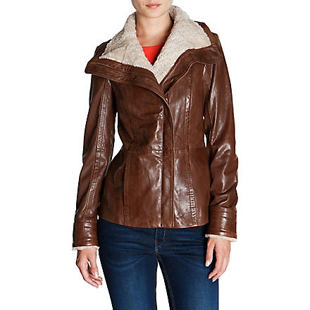 TED BAKER Shearling-collar leather jacket (Brown