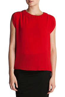 TED BAKER Kady gathered neck silk top
