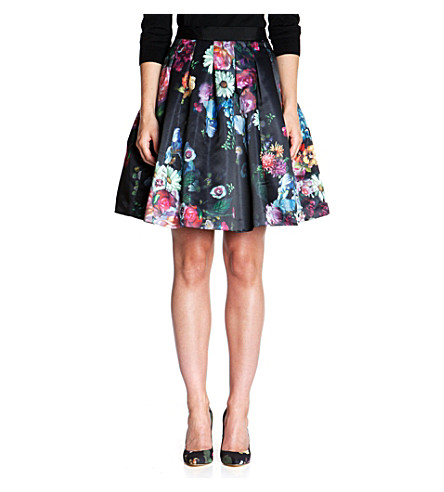 TED BAKER Flowtii oil painting skirt (Black