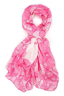 TED BAKER Lace-border scarf