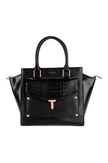 TED BAKER Leather tote bag with detatchable clutch