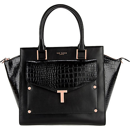 TED BAKER Leather tote bag with detatchable clutch (Black