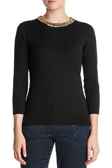 TED BAKER Embellished neckline top