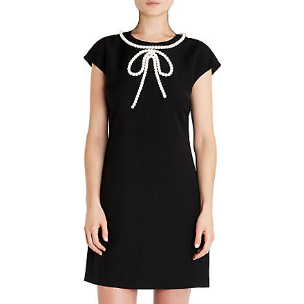 TED BAKER Temberl beaded bow tunic dress (Black