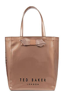 TED BAKER Metallic bow large Ikon shopper bag