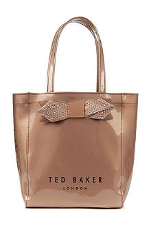 TED BAKER Metallic bow small Ikon shopper bag