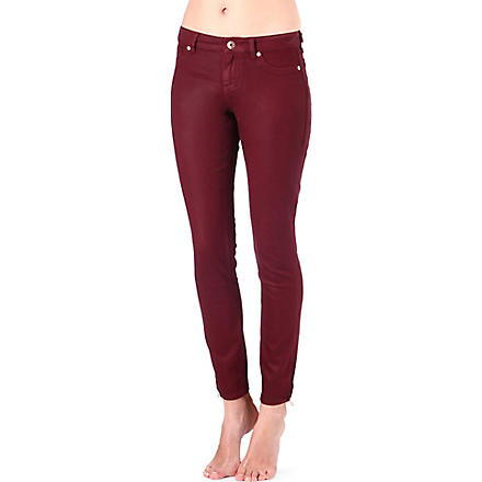 TED BAKER Coated skinny mid-rise jeans (Oxblood