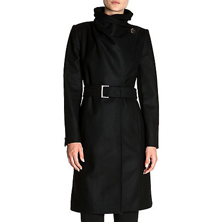TED BAKER Madigan draped-front coat (Black