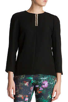 TED BAKER Beaded placket blouse
