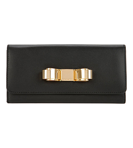 TED BAKER Bestuck metallic bow matinee purse (Black