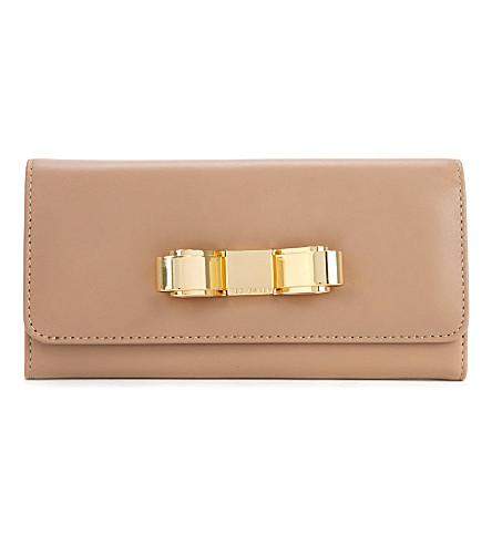 TED BAKER Bestuck metallic bow matinee purse (Natural