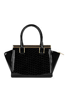 TED BAKER Teena T embossed patent tote bag
