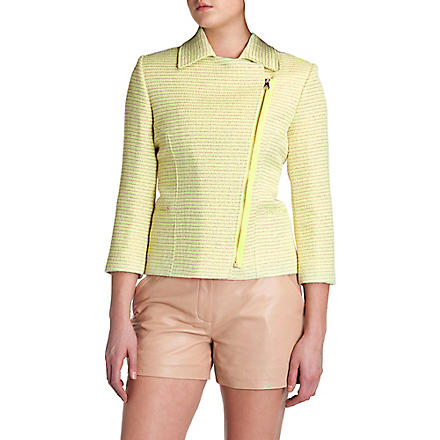 TED BAKER Noira cropped bouclé biker jacket (Lemon