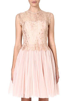 TED BAKER Lace bodice pleated dress