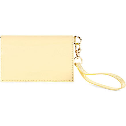 TED BAKER Elorna patent leather phone and card case (Lemon