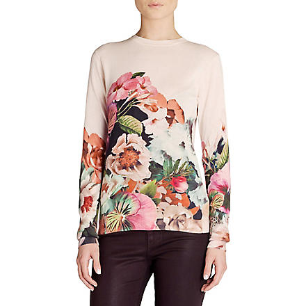 TED BAKER Tangled floral-print jumper (Natural