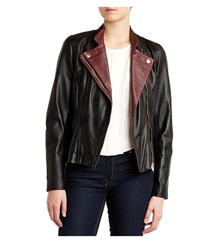 TED BAKER Colour block leather jacket (Black