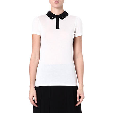 TED BAKER Mistey cut out collar top (Cream