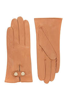 TED BAKER Leather button gloves