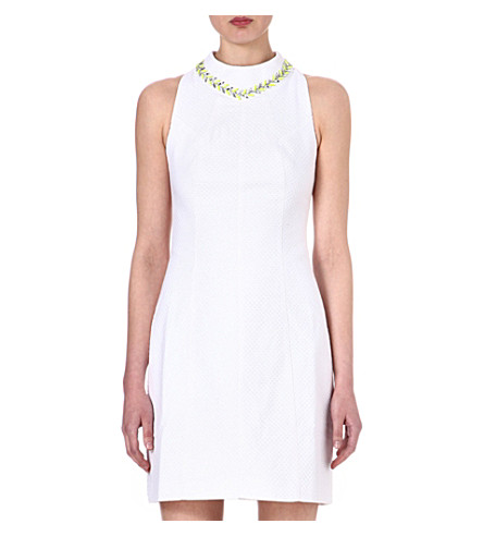 TED BAKER Sabelle embellished textured dress (White