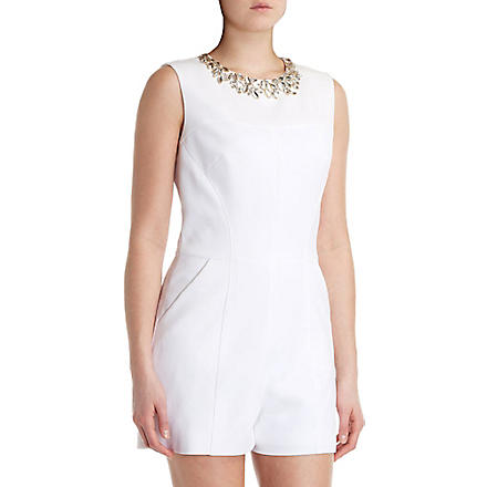 TED BAKER Evelin embellished-neckline playsuit (White