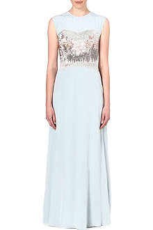 TED BAKER Beaded ombre silk maxi dress