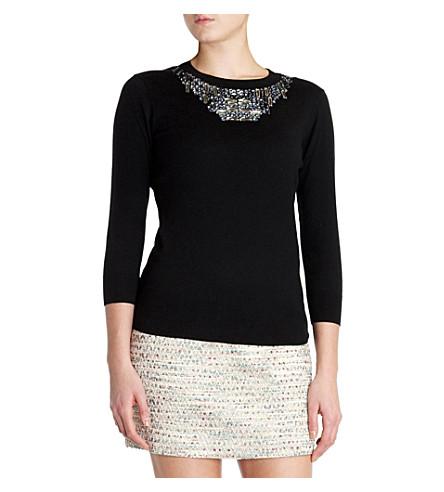 TED BAKER Blithe embellished neckline sweater (Black