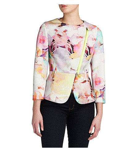 TED BAKER Saamsa electric daydream biker jacket (Lemon