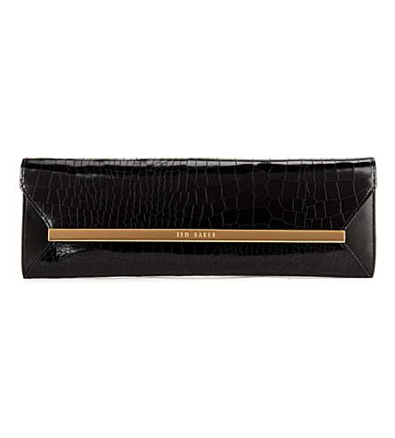 TED BAKER Allise leather metal bar clutch (Black