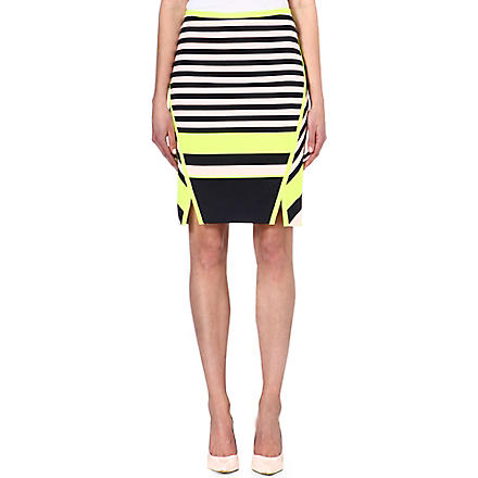 TED BAKER Stretch-jersey striped skirt (Navy