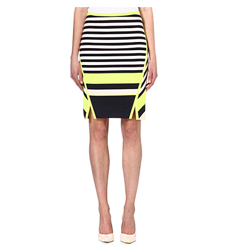TED BAKER Stretch-jersey striped skirt (Navy