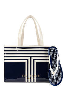 TED BAKER Teabag bag and flip flop set Striped shopper bag