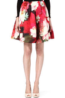 TED BAKER Rose on Canvas printed skirt