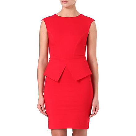 TED BAKER Structured peplum dress (Red